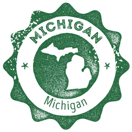 Michigan map vintage stamp. Retro style handmade label, badge or element for travel souvenirs.