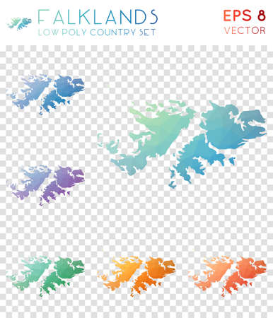 Falklands geometric polygonal maps, mosaic style country collection. Flawless low poly style, modern design. Falklands polygonal maps for infographics or presentation.