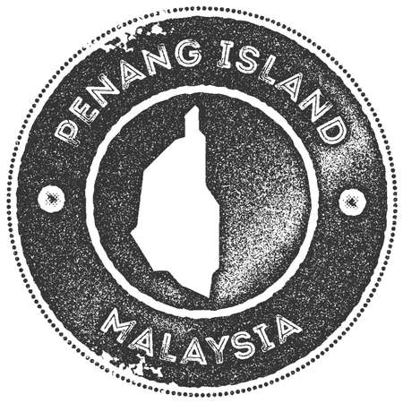 Penang Island map vintage stamp. Retro style handmade label, badge or element for travel souvenirs.