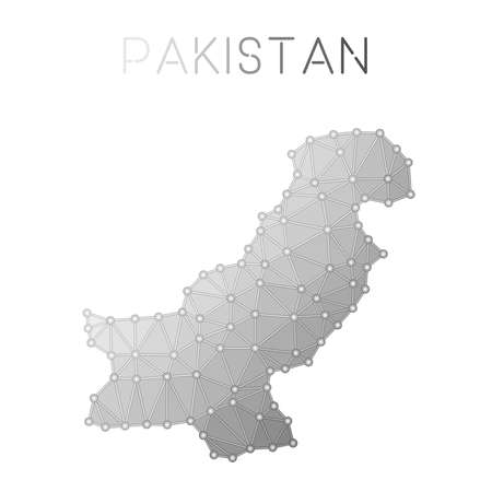 Pakistan polygonal vector map. Molecular structure country map design. Network connections polygonal Pakistan map in geometric style for your infographics.