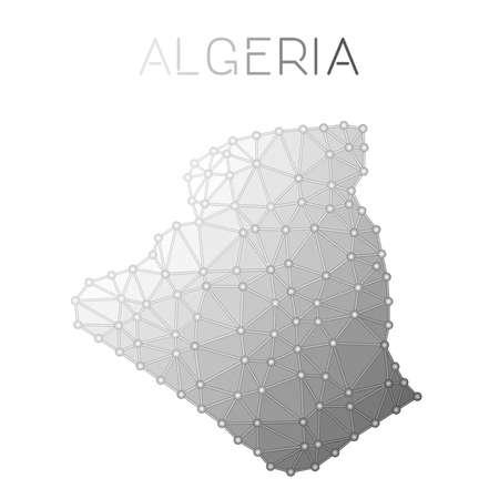 Carte vectorielle polygonale de l'Algérie. Conception de carte de pays de structure moléculaire. Carte de l'Algérie polygonale de connexions réseau dans un style géométrique pour votre infographie.