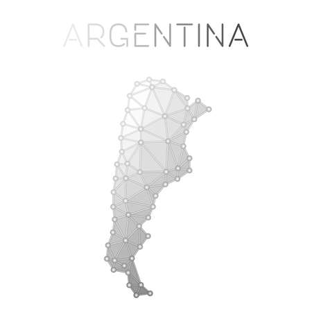 Argentina polygonal vector map. Molecular structure country map design. Network connections polygonal Argentina map in geometric style for your infographics.