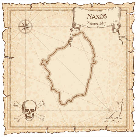 Naxos old pirate map. Sepia engraved parchment template of treasure island. Stylized manuscript on vintage paper.