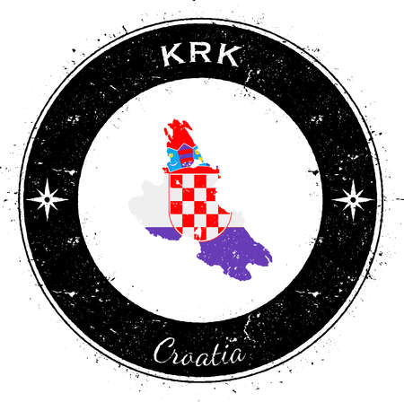Krk circular patriotic badge. Grunge rubber stamp with island flag, map and name written along circle border, vector illustration. Ilustrace