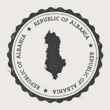 Albania hipster round rubber stamp with country map. Vintage passport stamp with circular text and stars, vector illustration. Illustration