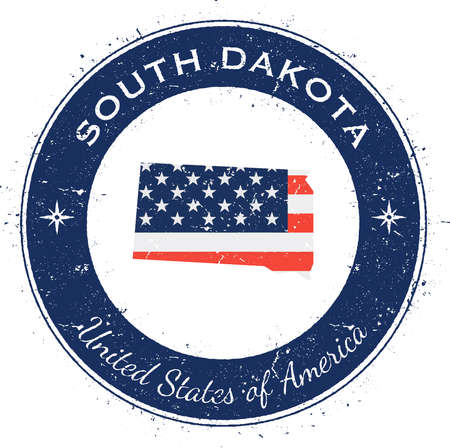South Dakota circular patriotic badge. Grunge rubber stamp with USA state flag, map and the South Dakota written along circle border, vector illustration.
