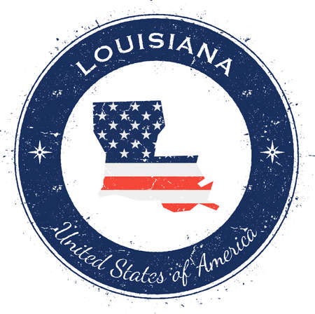 Louisiana circular patriotic badge. Grunge rubber stamp with USA state flag, map and the Louisiana written along circle border, vector illustration. Illustration