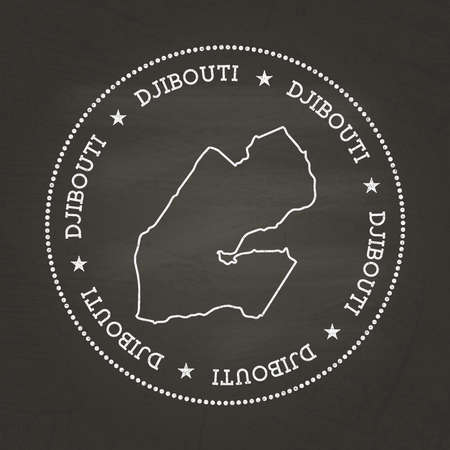 White chalk texture vintage seal with Republic of Djibouti map on a school blackboard. Grunge rubber seal with country map outline, vector illustration.