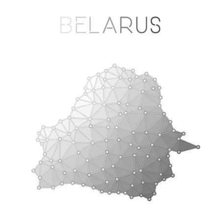 Grey Belarus polygonal vector map on a white background Ilustrace