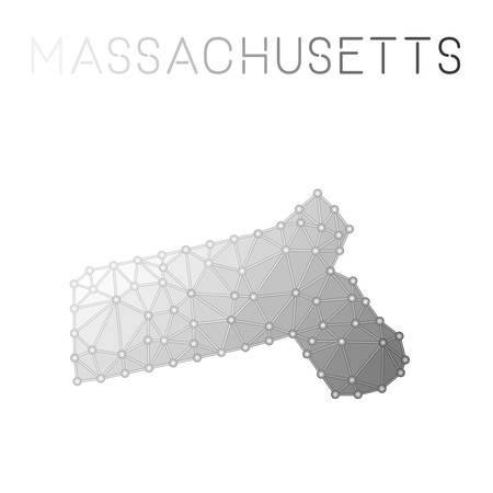 Grey Massachusetts polygonal map on a white background 向量圖像
