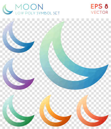Colorful moon geometric polygonal icons on a checked background