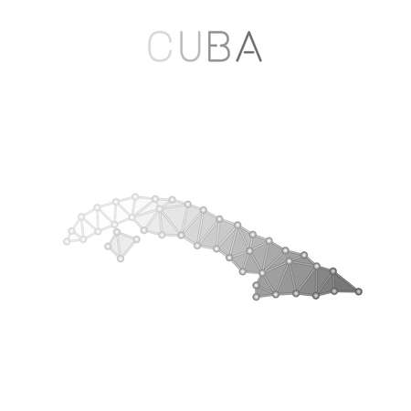 Cuba polygonal vector map. Molecular structure country map design. Network connections polygonal Cuba map in geometric style for your infographics.