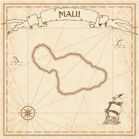 Ancienne carte au trésor de Maui. Modèle gravé sépia de parchemin de l'île pirate. Manuscrit stylisé sur papier vintage. Banque d'images - 97766025