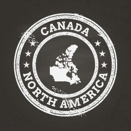 White chalk texture grunge stamp with Canada map on a school blackboard. Grunge rubber seal with country map outline, vector illustration.