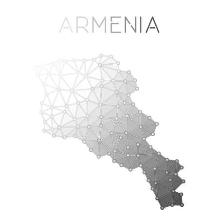 Armenia polygonal vector map. Molecular structure country map design.