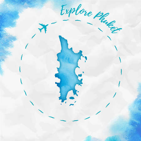 Phuket watercolor island map in turquoise colors. Explore Phuket poster with airplane trace and handpainted watercolor map on crumpled paper. Vector illustration.  イラスト・ベクター素材