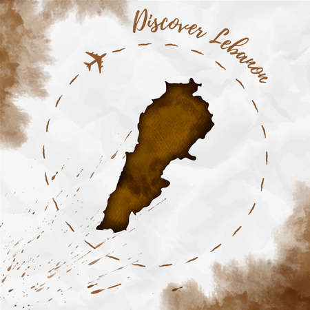 Lebanon watercolor map in sepia colors. Discover Lebanon poster with airplane trace and handpainted watercolor Lebanon map on crumpled paper. Vector illustration. Illustration