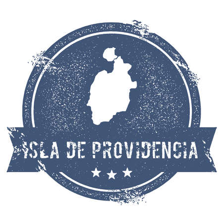 Isla de Providencia logo sign. Travel rubber stamp with the name and map of island, vector illustration. Can be used as insignia, logotype, label, sticker or badge.