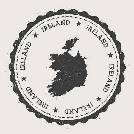 Ireland hipster round rubber stamp with country map. Vintage passport stamp with circular text and stars, vector illustration.
