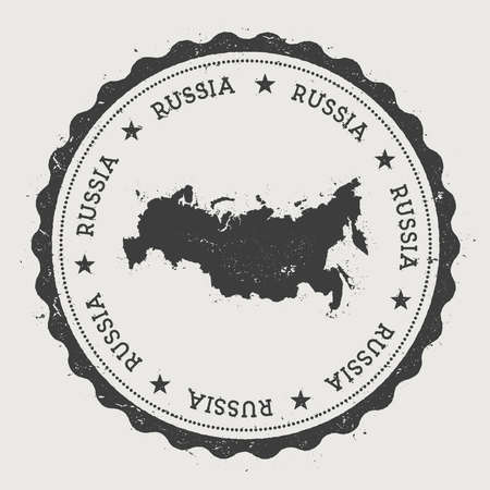 Russian Federation hipster round rubber stamp with country map. Vintage passport stamp with circular text and stars, vector illustration.
