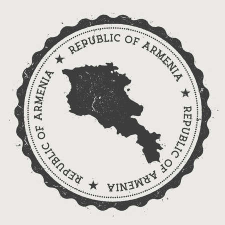 Armenia hipster round rubber stamp with country map. Vintage passport stamp with circular text and stars, vector illustration. Illustration