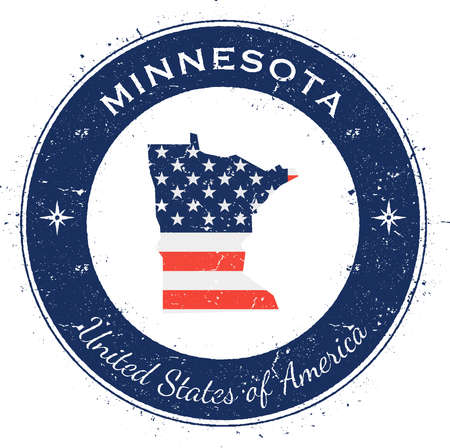 Minnesota circular patriotic badge. Grunge rubber stamp with USA state flag, map and the Minnesota written along circle border, vector illustration. Illustration