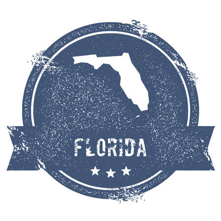 Travel rubber stamp with the name and map of Florida, vector illustration. Can be used as insignia, logotype, label, sticker or badge of USA state.