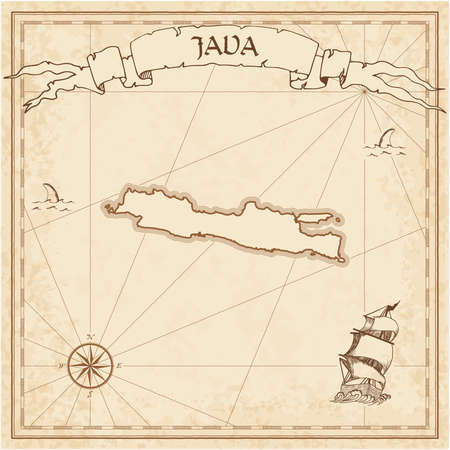 Java old treasure map. Sepia engraved template of pirate island parchment. Stylized manuscript on vintage paper. Vektorové ilustrace