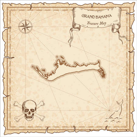 Grand Bahama old pirate map. Sepia engraved parchment template of treasure island. Stylized manuscript on vintage paper.