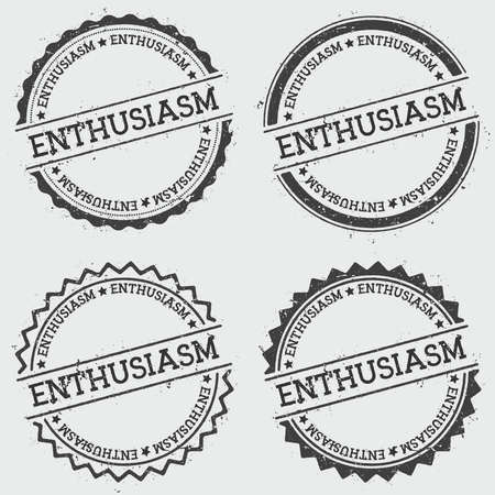 ENTHUSIASM insignia stamp isolated on white background. Grunge round hipster seal with text, ink texture and splatter and blots, vector illustration.