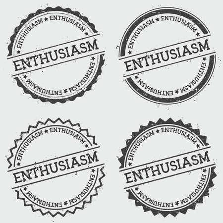 ENTHUSIASMUS-Insignienstempel lokalisiert auf weißem Hintergrund. Runde Hippie-Dichtung des Schmutzes mit Text, Tintenbeschaffenheit und Splatter und Flecken, Vektorillustration.
