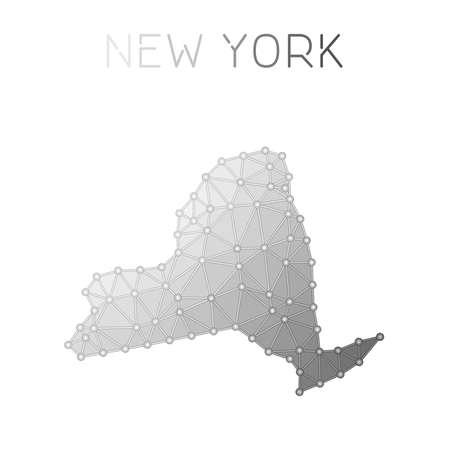 ニューヨークのポリゴン ベクター マップ。分子構造米国の状態マップ設計。ネットワーク接続 ポリゴン ニューヨークマップをインフォグラフィッ  イラスト・ベクター素材