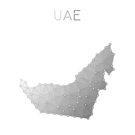 United Arab Emirates polygonal vector map. Molecular structure country map design. Network connections polygonal United Arab Emirates map in geometric style for your infographics.