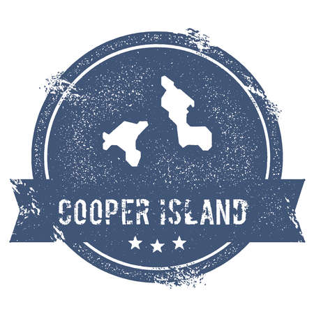 Cooper Island icon sign. Travel rubber stamp with the name and map of island, vector illustration. Can be used as insignia, icon, label, sticker or badge.