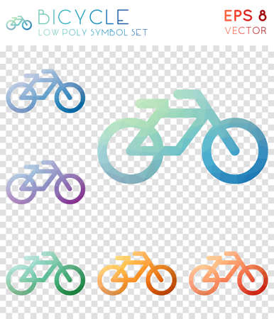 Bicycle geometric polygonal icons. Alluring mosaic style symbol collection. Amusing low poly style. Modern design. Bicycle icons set for infographics or presentation.