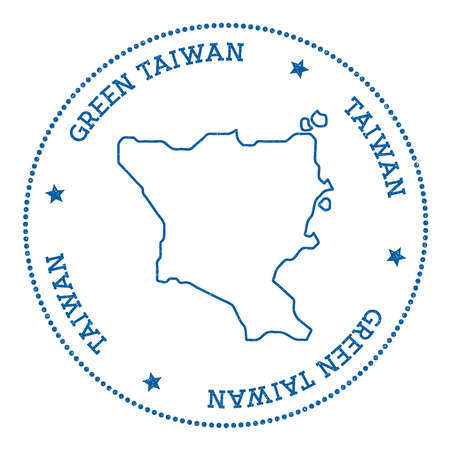 Green Island, Taiwan map sticker. Hipster and retro style badge. Minimalistic insignia with round dots border. Island vector illustration.