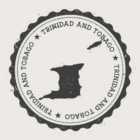 Trinidad and Tobago hipster round rubber stamp with country map. Vintage passport stamp with circular text and stars, vector illustration.