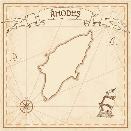 Rhodes old treasure map. Sepia engraved template of pirate island parchment. Stylized manuscript on vintage paper.