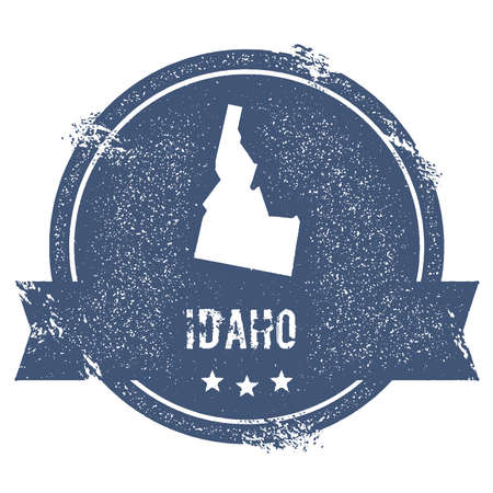Idaho mark. Travel rubber stamp with the name and map of Idaho, vector illustration. Can be used as insignia, logotype, label, sticker or badge of USA state.