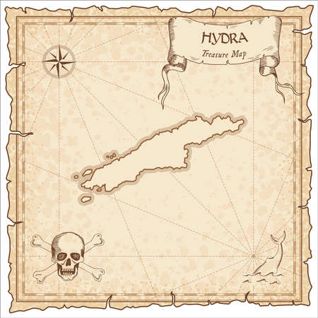 Hydra old pirate map. Sepia engraved parchment template of treasure island. Stylized manuscript on vintage paper.