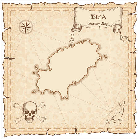 Ibiza old pirate map. Sepia engraved parchment template of treasure island. Stylized manuscript on vintage paper.
