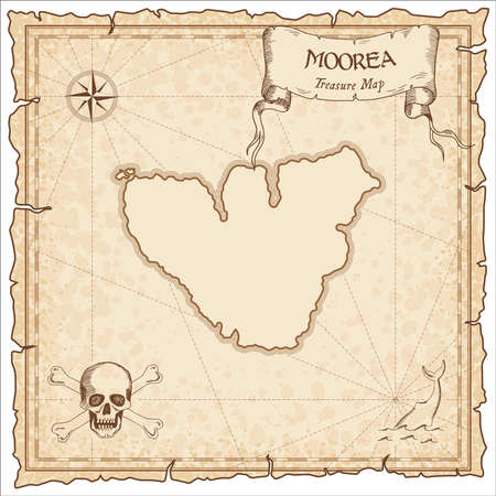 Moorea old pirate map. Sepia engraved parchment template of treasure island. Stylized manuscript on vintage paper. Vettoriali