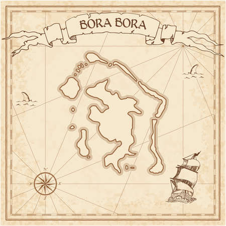 Bora Bora old treasure map. Sepia engraved template of pirate island parchment. Stylized manuscript on vintage paper.