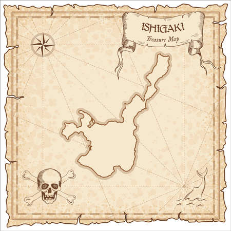 Ishigaki old pirate map. Sepia engraved parchment template of treasure island. Stylized manuscript on vintage paper.