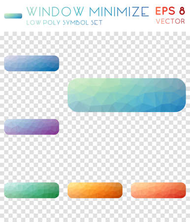 Window minimize geometric polygonal icons. Brilliant mosaic style symbol collection. Optimal low poly style. Modern design. Window minimize icons set for infographics or presentation.