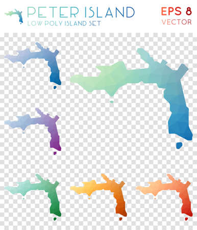 Peter Island geometric polygonal maps, mosaic style island collection. Fetching low poly style, modern design. Peter Island polygonal maps for infographics or presentation. 向量圖像