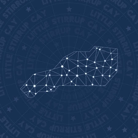 Little Stirrup Cay network, constellation style island map. Bewitching space style, modern design. Little Stirrup Cay network map for infographics or presentation.