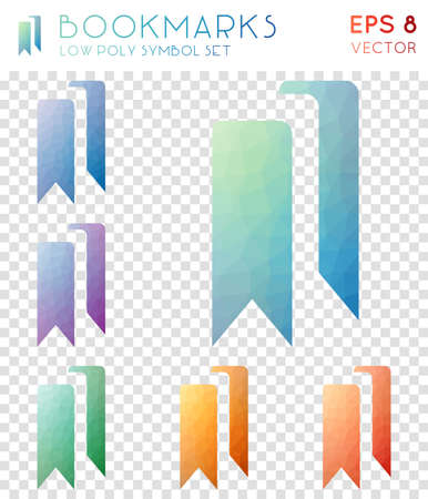 Bookmarks geometric polygonal icons. Alluring mosaic style symbol collection. Extra low poly style. Modern design. Bookmarks icons set for infographics or presentation.