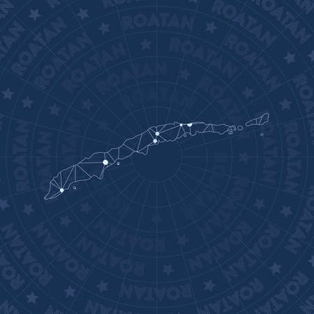 Roatan network, constellation style island map. Good-looking space style, modern design. Roatan network map for infographics or presentation. Illustration