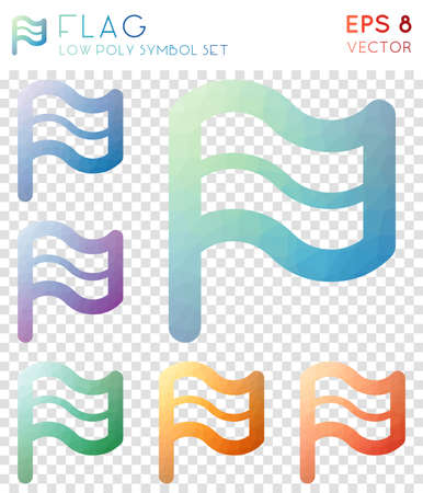Flag geometric polygonal icons. Artistic mosaic style symbol collection. Outstanding low poly style. Modern design. Flag icons set for infographics or presentation.